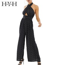 HYH Haoyihui Femme Summer Sexy Simple Stylish Pants Backless Crossover Neckline See-through Wide-leg Dot Black Long Jumpsuits metallic crossover see through top