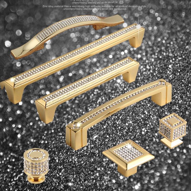 Armoires à tiroirs et poignées en cristal 24K   En or véritable, boutons et poignées de porte, poignées de meubles, ne se décolore pas, Super luxueux
