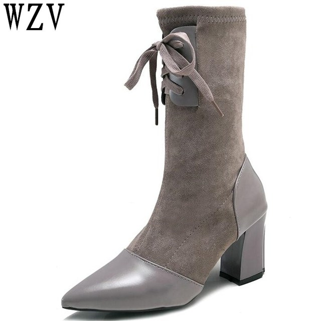 2018 New Fashion Lace Up Pointed Toe Square Damens Stiefel Square Toe High Heels 41680f