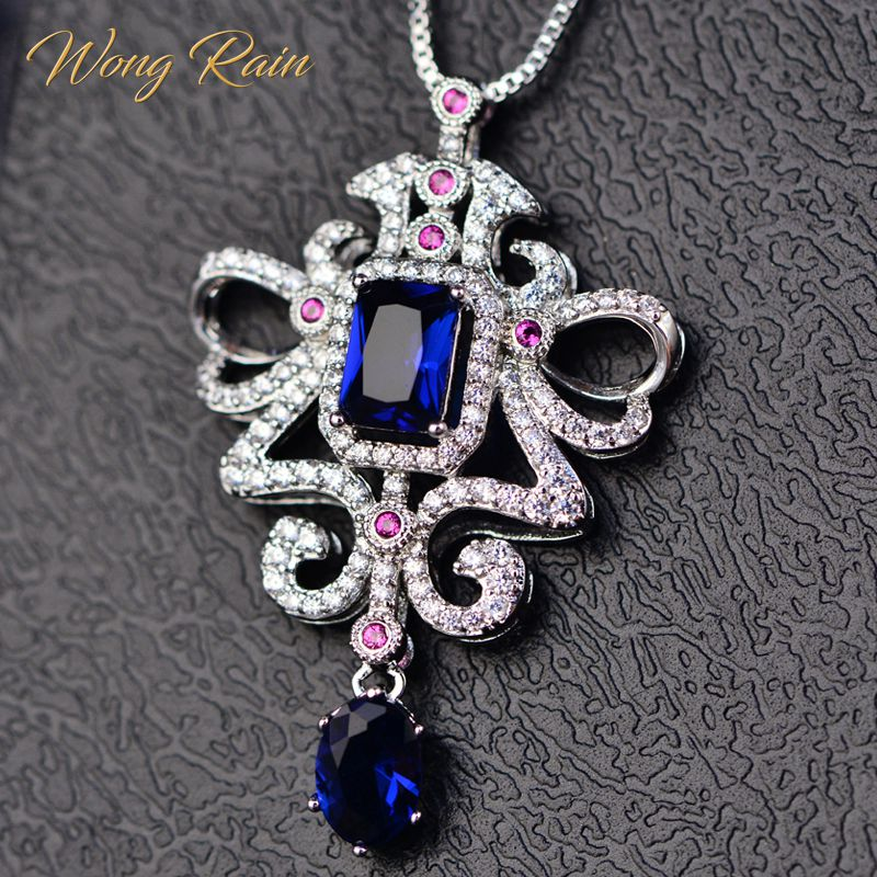 Wong Rain Luxury 00% 925 Sterling Silver 5 * 7 MM Citrine Gemstone Engagement Wedding Party Necklace Pendant Women Wholesale