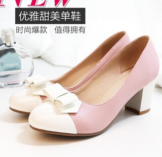 e1733bae08a In summer with thick bow with a single shoe heels spell color wide leg fat  feet large size shoes women 404