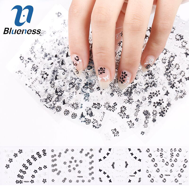 Blueness 24 Pcs/Lot Black White Flowers Design 3D Stickers Glitter Nail Art Decorations Manicure Tools For Charms Nails JH162 1 a black and white nail stickers decorative pattern design adornment art nail accessories women beautiful nail tools as 312