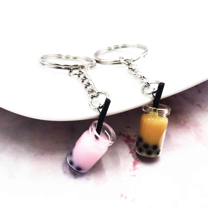 2019 New Fashion Milk Tea Pendant Keychains Women Girl Bag Car Charm Chain Keyring Party Jewelry Cute Key Chains Gifts
