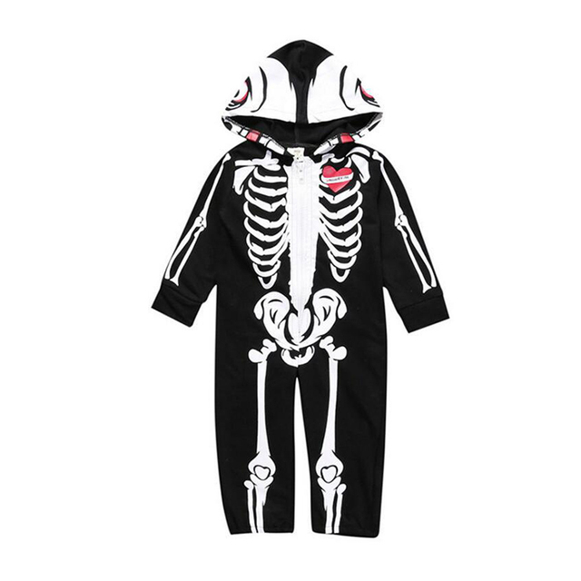 Skull Print Toddlers Hooded Jumpsuit