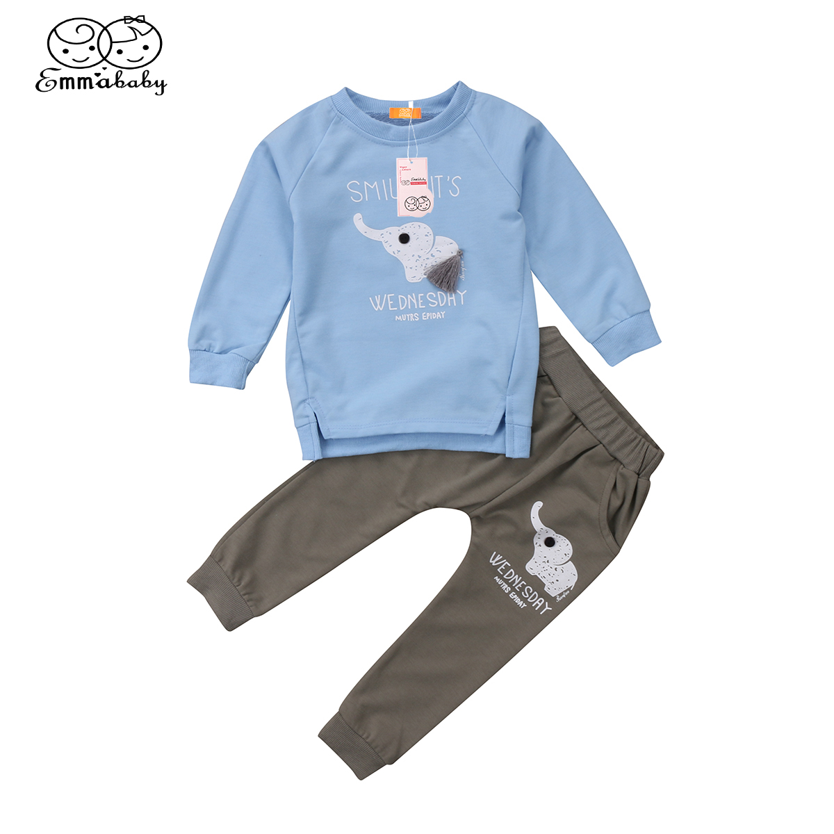 New arrival cute babies clothes Newborn Infant Baby Girls Boy Outfits set long sleeve cartoon elephant t-shirts +long Pants Set
