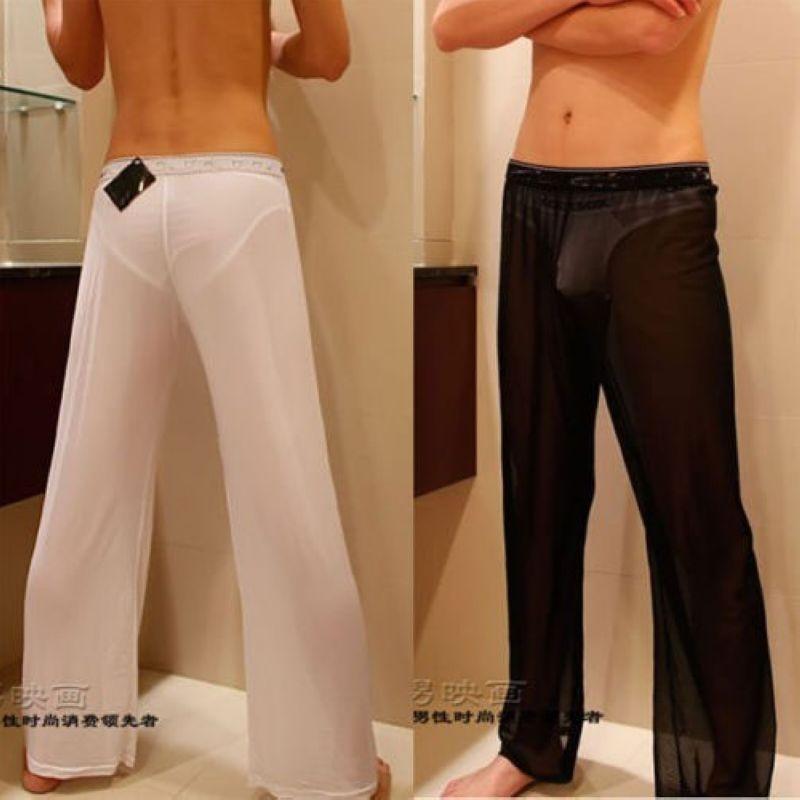 Hot Sexy Guy Men Mesh Sheer Perspective Pant Transparent Loose Thin Leisure Lounge Pants Nightwear Sleep Bottoms Pyjama Trousers
