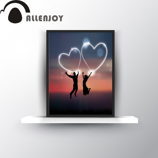 9e4c15dc711 Romantic couple Love Sunset Hearts simple Canvas Art Print Poster Wall  Pictures oil painting Home bedroom Decoration Wall Decor