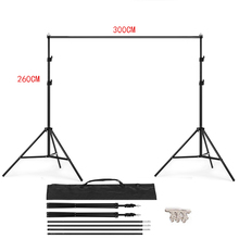 PHOTO STUDIO BACKGROUND STAND 3M X 2.6M Adjustable Muslin Background Backdrop Support Stand Kit Carrying Bag 4PCS Clamps dhl free photo studio accessories background support 1 8x2 7m background green white black color muslin 2x2m backdrop stand