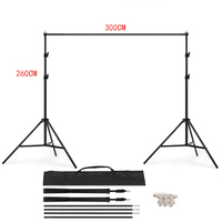 PHOTO STUDIO BACKGROUND STAND 3M X 2.6M Adjustable Muslin Background Backdrop Support Stand Kit Carrying Bag 4PCS Clamps