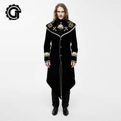 Западная Готический вышивка Королевское Платье Для мужчин куртка Тренч золотой цвет красного вина Slim Fit X-длинная куртка для выпускного
