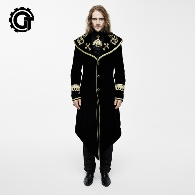 Western Gothic Embroidery Royal Gown Men Jacket Trench Coat Gold Wine Red Slim Fit X Long Jacket Prom Male Stage Prince Costume