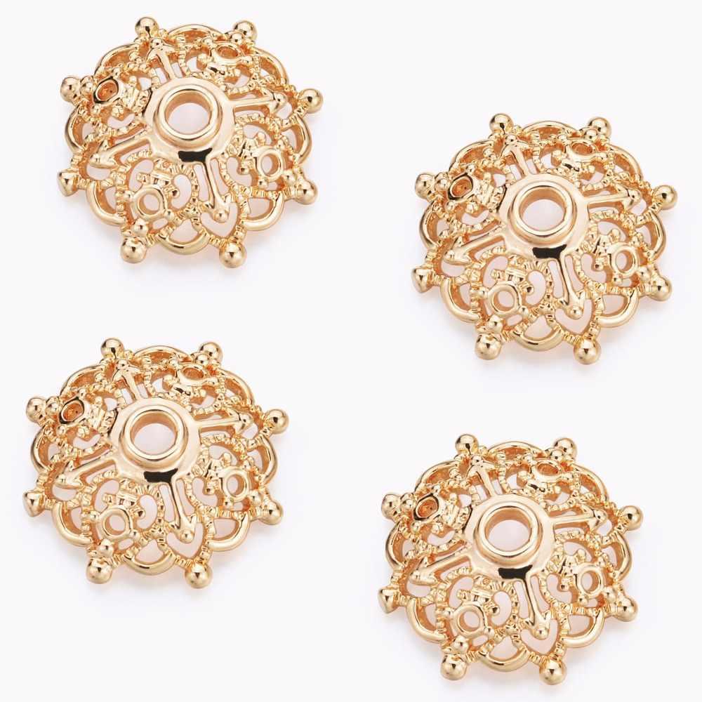 20 piezas 15mm oro Color cuentas espaciadoras de flores Torus con DIY collar pulsera joyas hallazgos