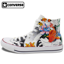 Fish Carp Mural Design Hand Painted Converse Sneakers Women Men Canvas Sneakers Brand All Star Shoes Original Chuck Taylor