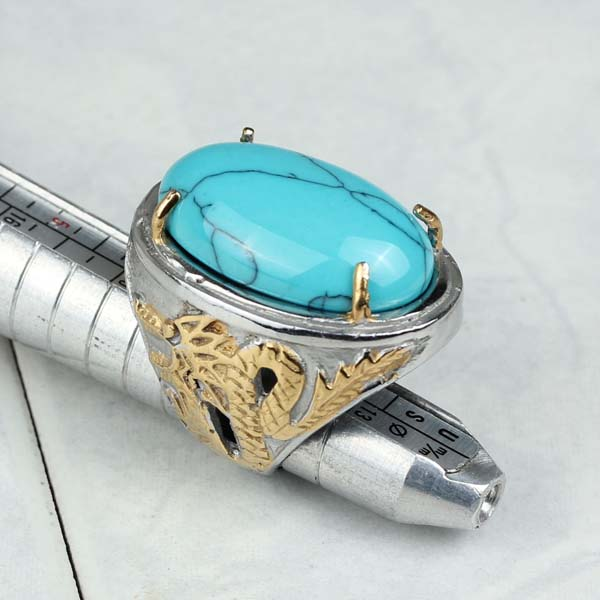 316L Stainless Steel Natural Big Oval Blue Stone finger Ring For