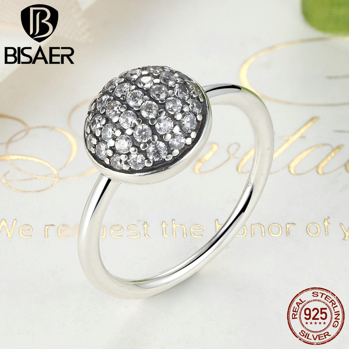 BISAER Authentic 925 Sterling Silver Female Dazzling Droplet, Clear CZ Finger Rings For Women Wedding Band Engagement Jewelry