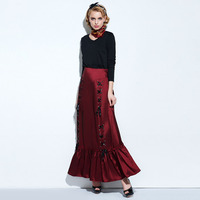 Young17 Gothic Women Mermaid Skirt Trumpet Black Ankle Lenghth Spring Burgundy Fall Trumpet Lace Up Women