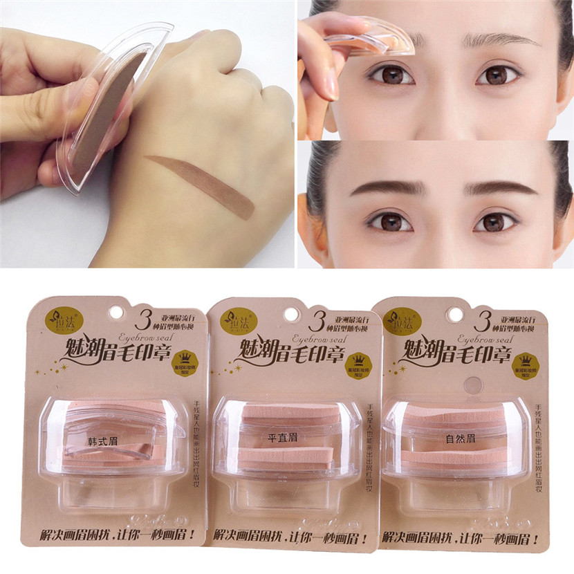a moda ceja cejas plantillas plantilla sello de esponja de maquillaje de ojos natural tipo