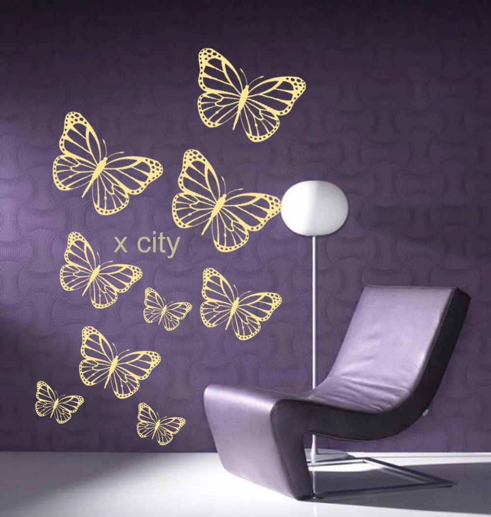 Group butterfly wall art vinyl mural sticker children kids for Butterfly wall mural stickers