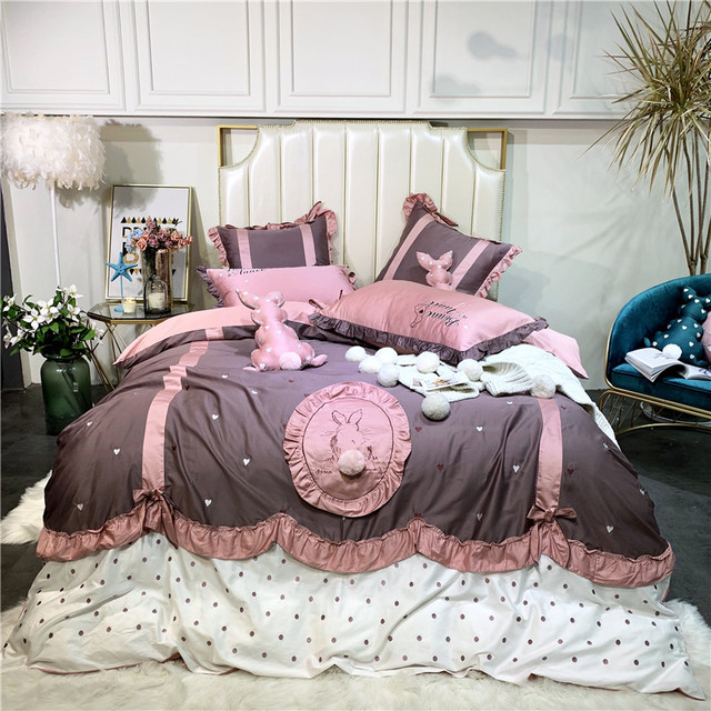 Egyptian cotton rabbit duvet cover bedsheet fitted sheet Luxury bedding set king size queen embroidery bed set parure de lit