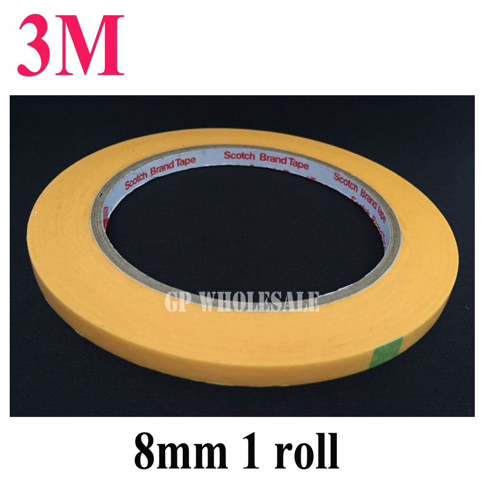 1x New 3M 8mm*50M High Temperature Withstand Masking Tape Yellow 3M244 for Auto Coat PCB SMD Shielding freeshipping #22