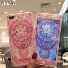 Cartoon Case For IPhone 8 Plus 7 /7Plus Cases Pink Sailor Moon Tempered Glass Screen Protector for IPhone 6 6sPlus Soft Cover(China)