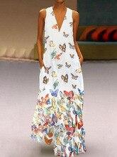 купить Sexy V Neck Women Vintage Butterfly print Dress 2019 Summer Sleeveless Pockets Dress Casual Loose Boho Maxi Long Dresses S-5XL по цене 754.87 рублей