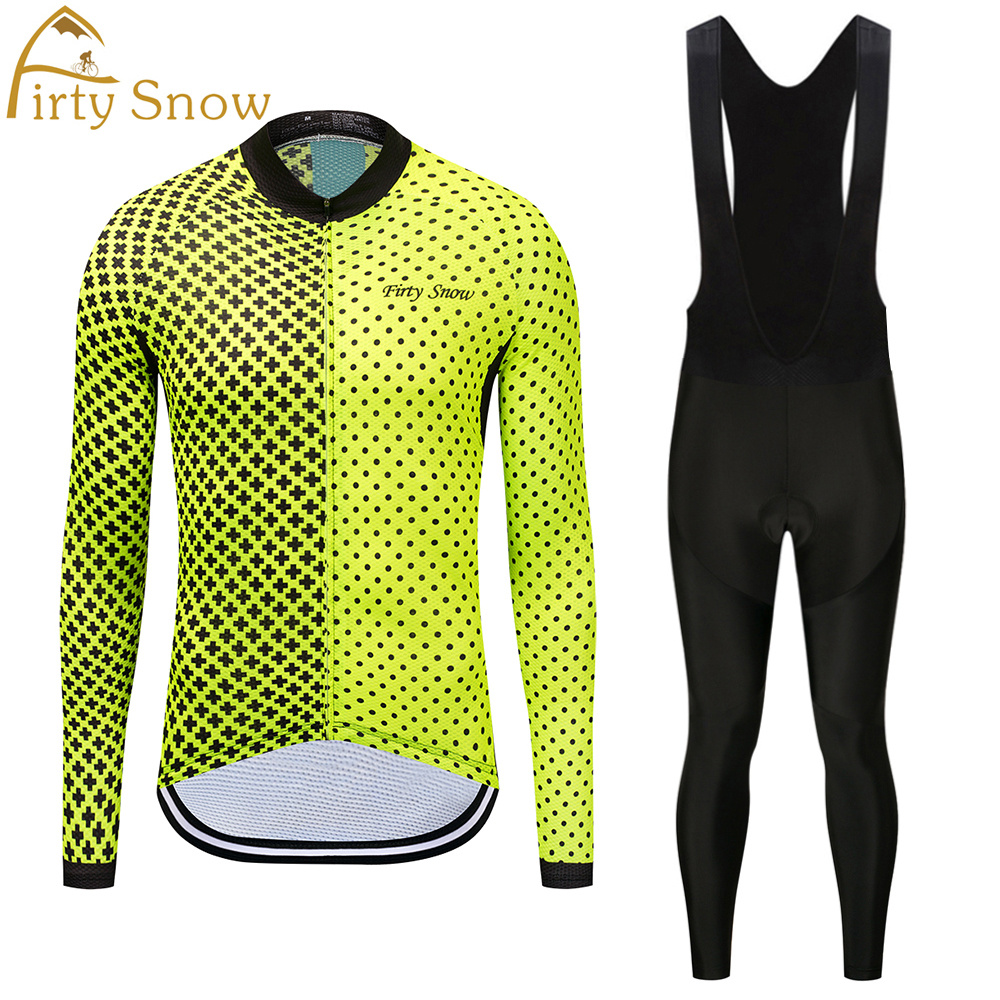 Firty Snow Brand 2018 High Quality Newest Pro Fabric Cycling Jerseys Wear Long Sleeves Set Bike Clothing Pants yellow