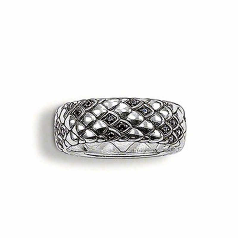 Black Zirconia Silver Plated Snakeskin Rings, European Bijoux Most Fashion Dragon Scales Snake Skin Ring Jewelry for Women Men