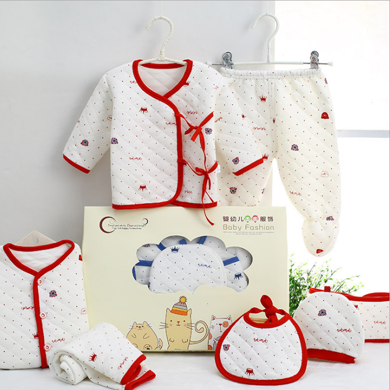 7 pcs/set Cotton Thicker Winter Autumn Baby Boy Girl Clothing Sets Newborn Clothes Set For Babies Boy Clothes Suit Infant Set cotton baby rompers set newborn clothes baby clothing boys girls cartoon jumpsuits long sleeve overalls coveralls autumn winter