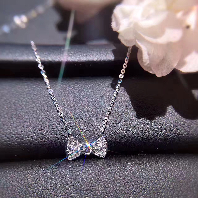 ANI 18K White Gold (AU750) Pendant Necklace 0.11 ct Real Diamond Bow-knot Pendant Chain Necklace for Women Engagement Custom 18k gold diamond pendant white gold diamond diamond necklace set custom jewelry gold pendant genuine