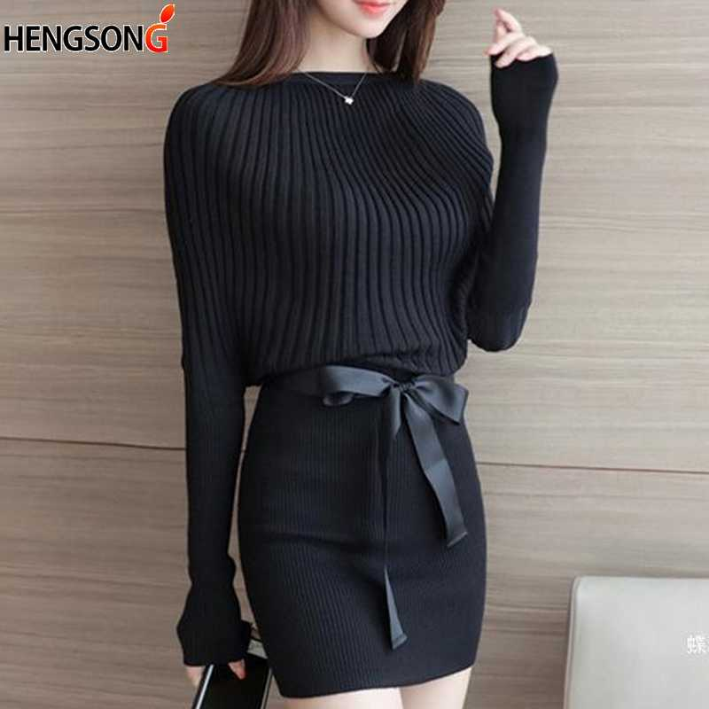 78a1ff373a3 HENGSONG элегантный тонкий вязаное платье осень женская одежда трикотаж  High Street пояса мини-платье с