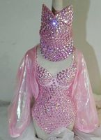 Pink Full Diamond Sew On Bodysuit Outfit Female Singer Stage Wear Sparkling Rhinestone Dress Party Costume Customize Leotard