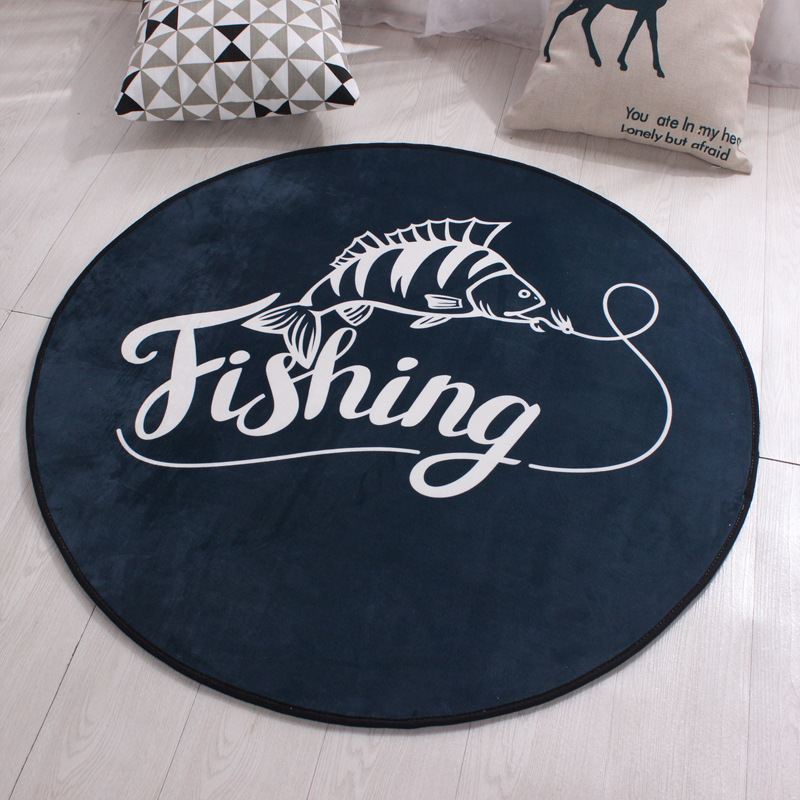 Captivating Black Round Carpet Polyester Non Slip Kids Rugs Floor Tapete Computer Round  Rugs For Home