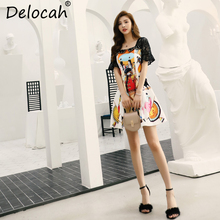 Delocah Women Summer Dress Runway Fashion Designer Square Collar Character Print Lace Splice High Waist Vintage Mini Dresses