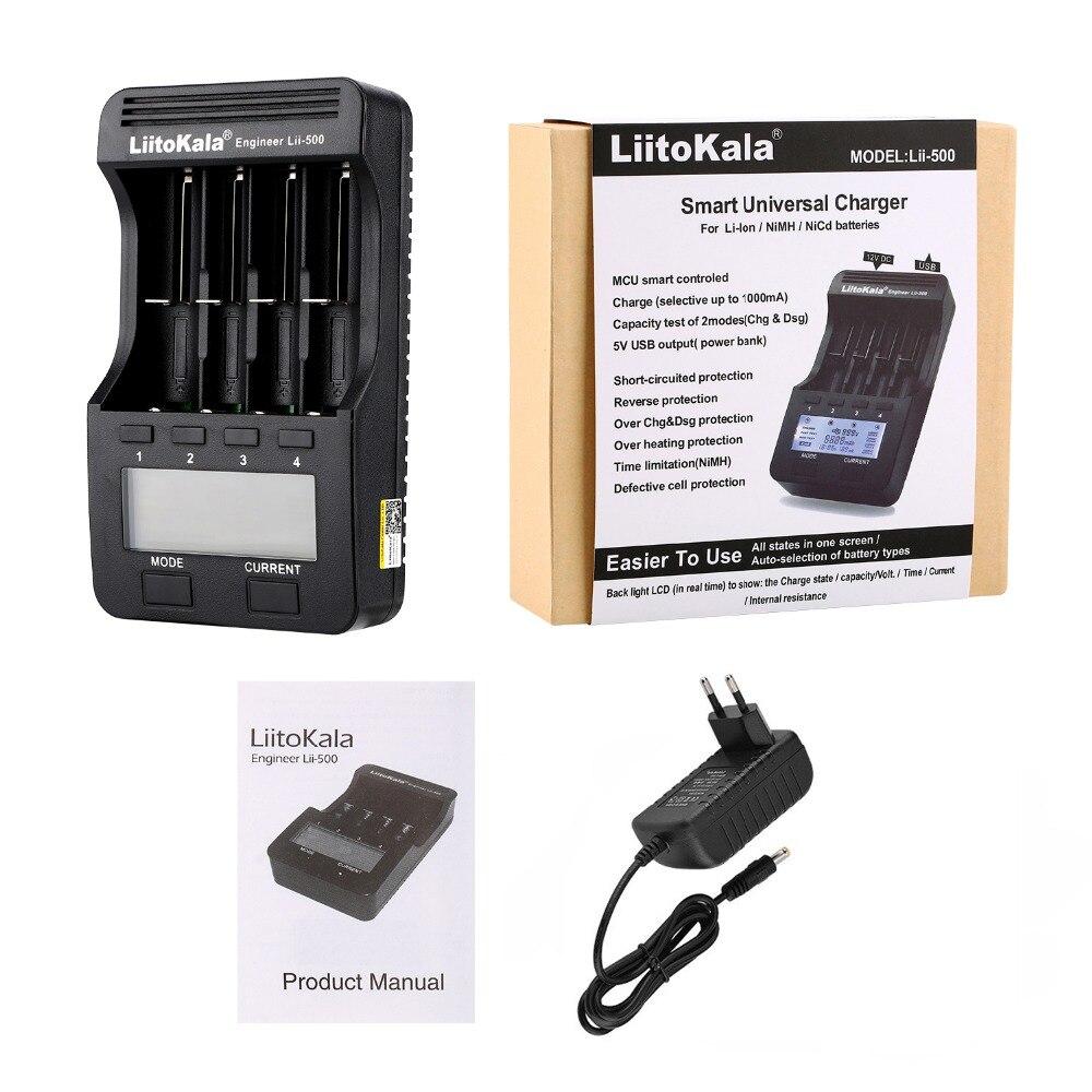 LiitoKala lii-500 LCD 3,7 V 1,2 V 18650, 26650, 16340, 14500, 10440, 18500 20700B 21700 cargador de batería con pantalla