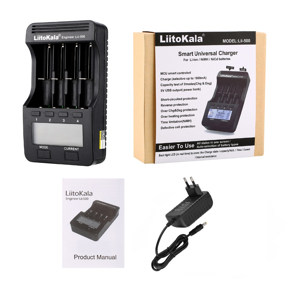 LiitoKala lii-500 lii-500S LCD 3 7V 1 2V 18650 26650 16340 14500 10440 18500 20700B 21700  Battery Charger with screen