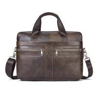 2017 Man Handbag First Layer Cow Genuine Leather Coffee Shoulder Bag Money Bag Messenger Bag Men