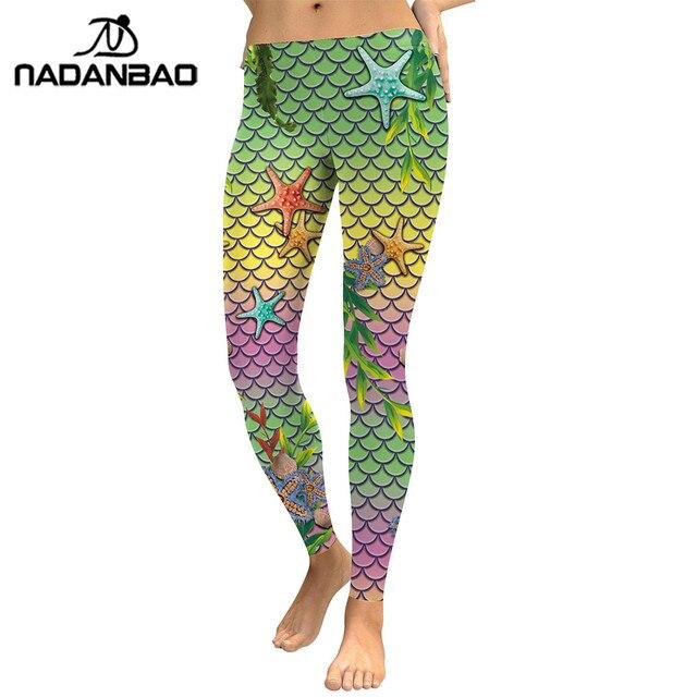 NADANBAO Summer Style Scale Women leggings 3D Printed Mermaid  Plus Size Leggins Gradient Workout Leggins Pant Legging 6