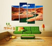 4 Parça Kırmızı Dağ Manzarası Inclued Yeşil Göl Modern Ev Duvar Sanatı PictureCanvas Baskı Oturma Odası Için Dekor Boyama Çerçevesiz