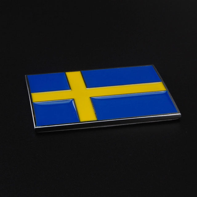 Bbqfuka 1pcs automobiles car new metal 3d sweden swedish flag badge emblem side rear