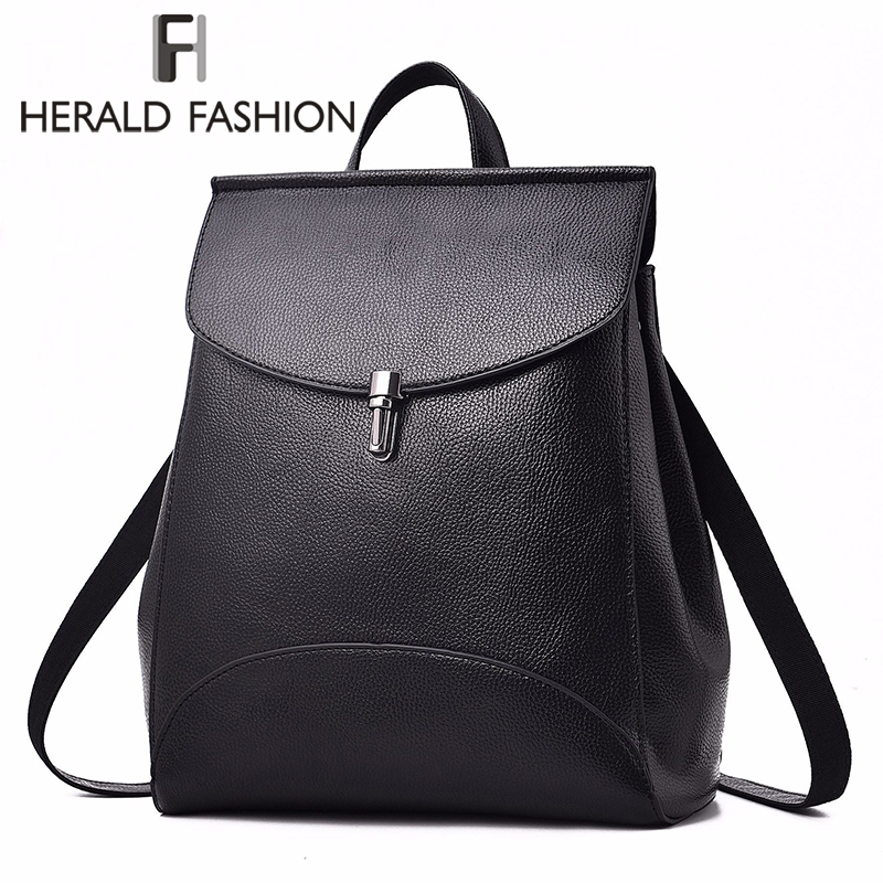 HERALD FASHION Women Backpack Quality Leather Backpack Casual Solid School Bag For Teenage Girl Backpack Travel Shoulder Bag