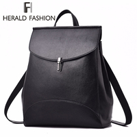HERALD FASHION Women Backpack Quality Leather Backpack Casual Solid School Bag For Teenage Girl Backpack Travel