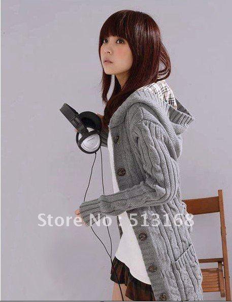 зима мода женщин кардиган свитер с длинными рукавами с капюшоном плащ черный / бежевый / серый + бесплатная доставка