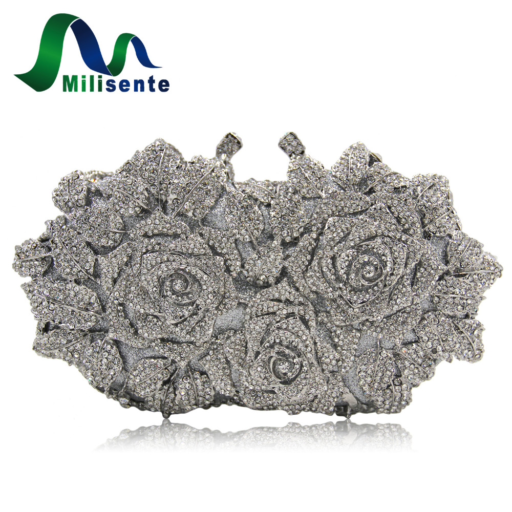 Milisente Women Flower Crystal Bags Silver Wedding Clutch Purses Luxury Evening Clutches Diamond Party Bag