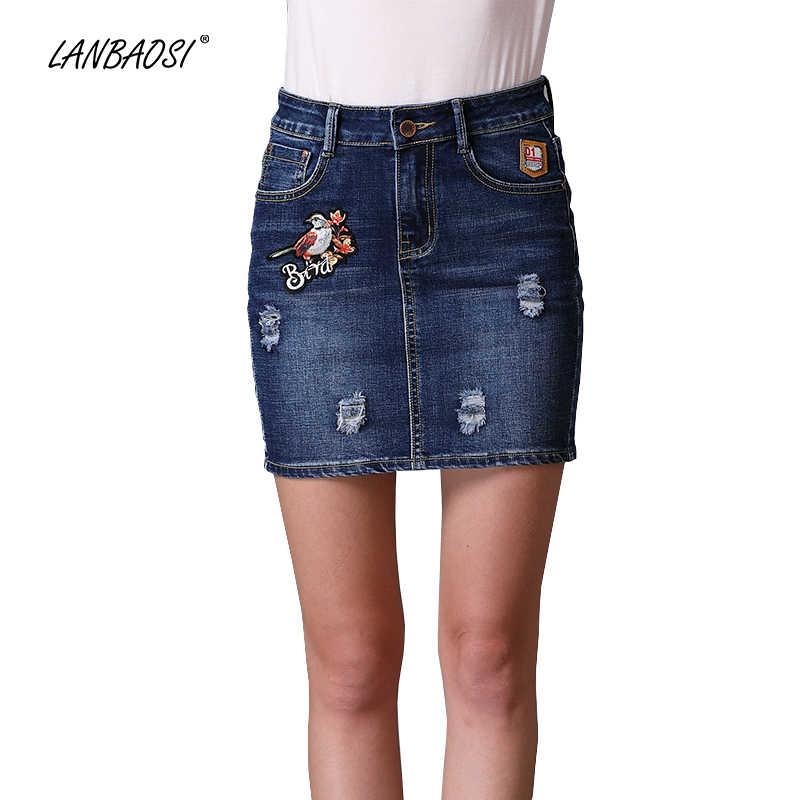 fec8d2c76 LANBAOSI pájaro bordado Denim minifalda para mujeres paquete cadera ...