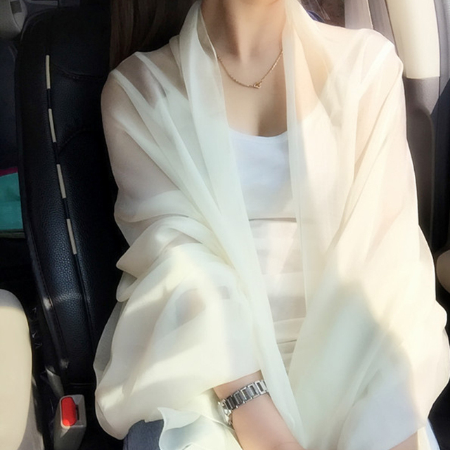 2016 Trendy Imitation Silk Scarf Chiffon Scarf Style Solid Sunscreen Shawl Brand Designer Scarves and Stoles Scarf Candycolor