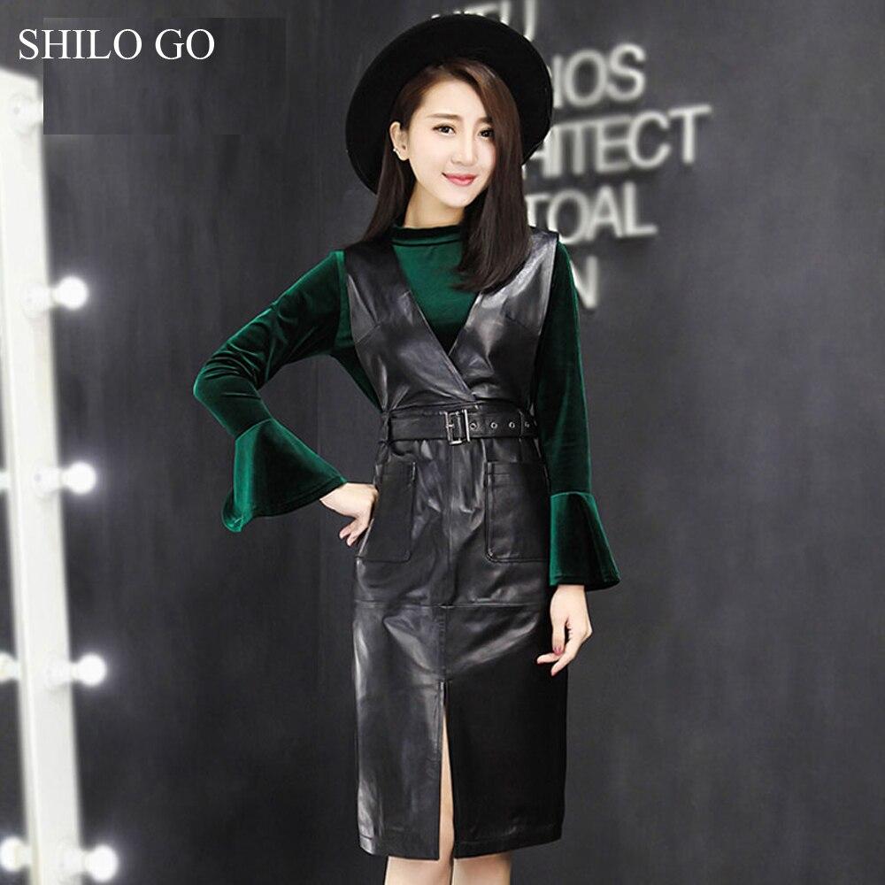SHILO GO cuir robe femmes printemps mode peau de mouton en cuir véritable robe Sexy col en V sans manches en métal ceinture fente robe crayon