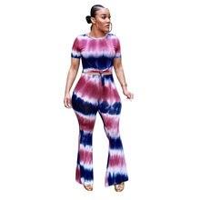 7388fcaf95a Summer 2 Piece Set Tie Dye Flare Pants Set Short Sleeve Crop Top and Wide  Leg Pants Sets Plus Size Women Tracksuit Leisure Suit