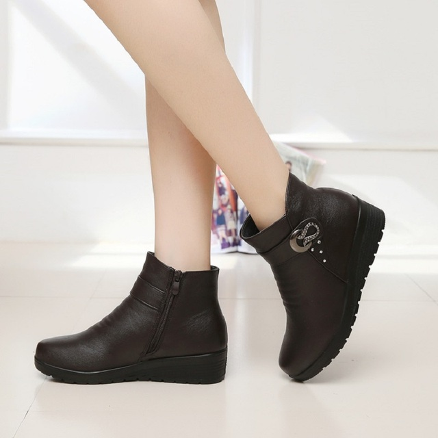 ZZPOHE Autumn winter fashion Women snow Boots elderly mother warm boots female boots thick shoes flat comfortable old shoes 41