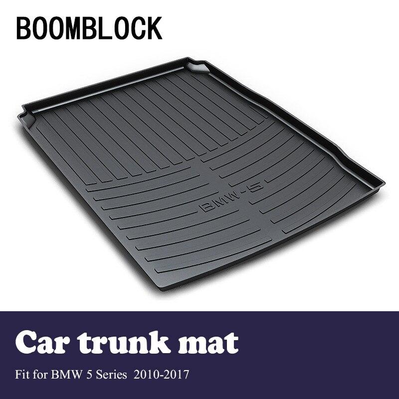 BOOMBLOCK For 2010-2017 BMW F10 F11 F07 5 Series Waterproof Anti-slip Car Trunk Mat Tray Floor Carpet Pad Protector Accessories custom fit car trunk mat for bmw 5 series e60 e61 f07 f10 f11 518d 520d 523d 525d 528d 530d 535d 540d tail box floor tray liner